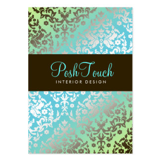 311-Dazzling Damask Turquoise & Lime Pack Of Chubby Business Cards