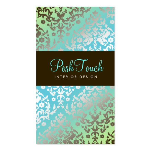 311 Dazzling Damask Turquoise & Lime Business Card Templates