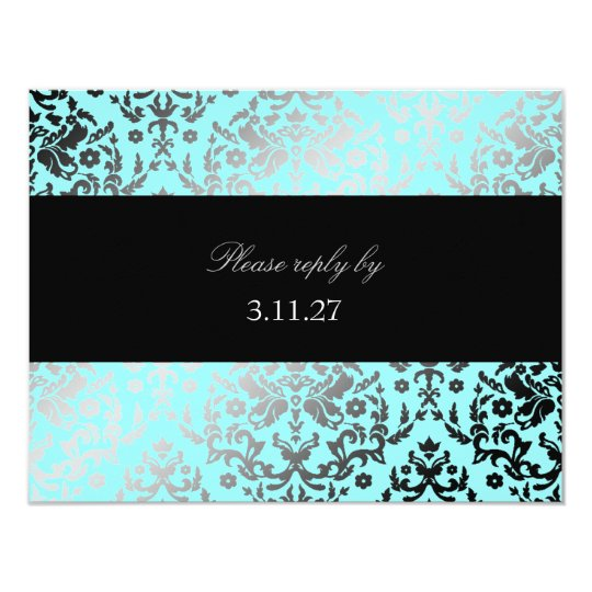 311-Dazzling Damask Turquoise RSVP Card