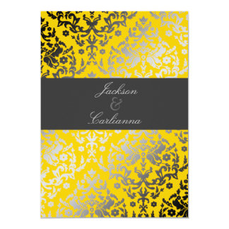 311-Dazzling Damask Yellow   Charcoal Gray Band 13 Cm X 18 Cm Invitation Card