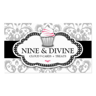 311 Divine Gray White Damask Cupcake Business Card