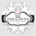 311 Divine Grey White Damask Cupcake Sticker