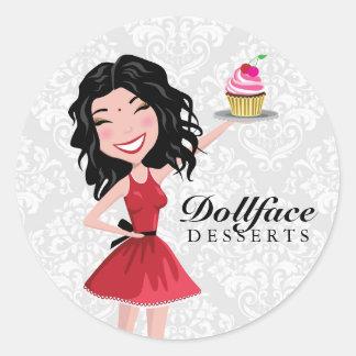 311 Dollface Desserts Indie Damask Round Stickers
