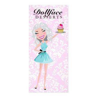 311 Dollface Desserts Ivorie Pink Damask Menu Rack Card Design