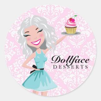 311 Dollface Desserts Ivorie Pink Damask Round Sticker