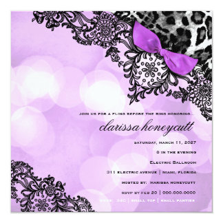 311 Dream in Lights Leopard & Lace Violet 13 Cm X 13 Cm Square Invitation Card