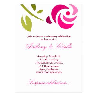311-ELEGANT PINK ROSE INVITATION POSTCARD