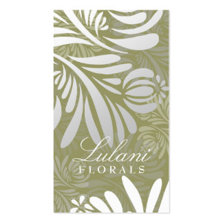 311-EXOTIC FLORAL GREEN BUSINESS CARDS