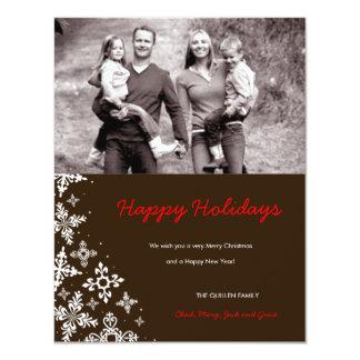 311-Falling Snow | Brown Christmas Photo Card 11 Cm X 14 Cm Invitation Card