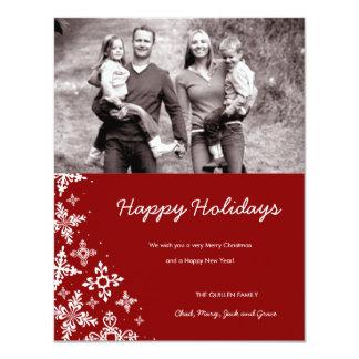 311-Falling Snow | Red Christmas Photo Card 11 Cm X 14 Cm Invitation Card