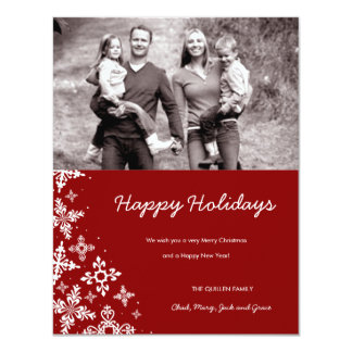 "311-Falling Snow | Red Christmas Photo Card 4.25"" X 5.5"" Invitation Card"