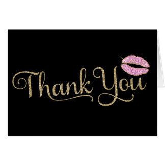 311 Faux Glitter Thank You 2 with Lips Card