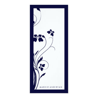 "311-Floral High-Rise Program | Midnight Blue 4"" X 9.25"" Invitation Card"