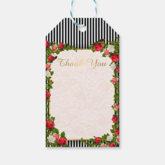 311 Floral Rose & Stripe Thank you Tag