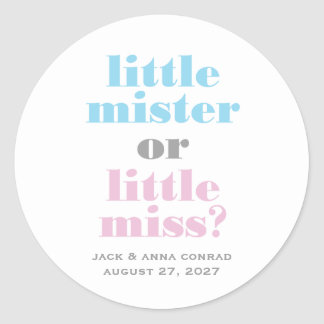 311 Gender Reveal Little Mister, Little Miss Round Sticker