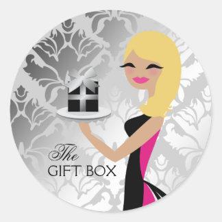 311 Gift Box Cutie Wavy Blonde Damask Round Sticker