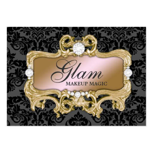 311 Glam Crazy Pink Gold Damask Business Card Templates