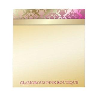 311 Glamorous Golden Pink Damask Notepad