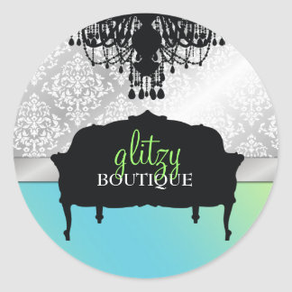 311 Glitzy Chic Boutique - Turquoise Lime Round Stickers