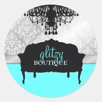 311 Glitzy Chic Boutique Turquoise Round Sticker