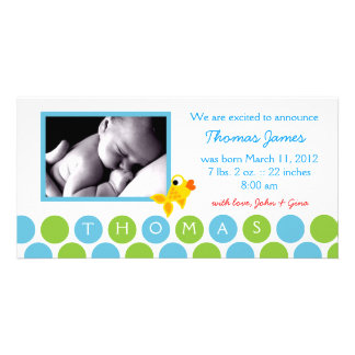 311-GOLD FINZ BABY BOY ANNOUNCEMENT 2 CARD