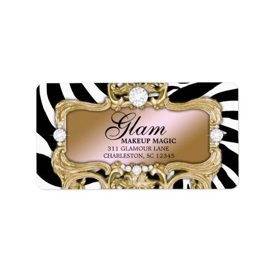 311 Gold Glam Crazy Zebra Address Label