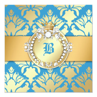 311-Golden Blue Damask Shimmer Queen Baby Shower Card