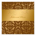 311-Golden diVine Chocolate Brown 5.25 x 5.25 13 Cm X 13 Cm Square Invitation Card