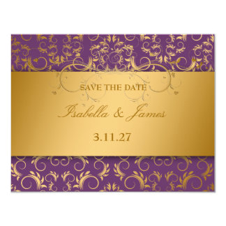 311-Golden diVine Eggplant Purple RSVP card 11 Cm X 14 Cm Invitation Card