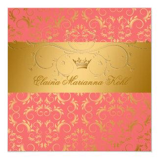 311-Golden diVine Mango Sweet 16 13 Cm X 13 Cm Square Invitation Card