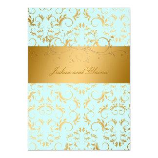311-Golden diVine | Sky Blue 13 Cm X 18 Cm Invitation Card