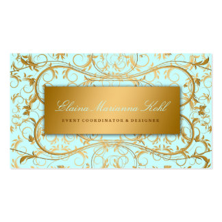 311-Golden diVine Sky Blue Business Card Template