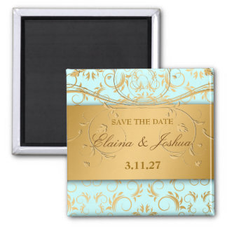 311-Golden diVine Sky Blue Save the Date Square Magnet