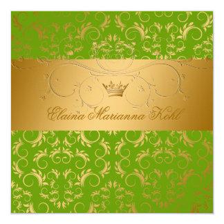 311-Golden diVine Sublime Sweet 16 5.25x5.25 Square Paper Invitation Card