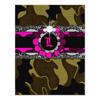 311-Hott Pink Camo Lingerie Shower Invitation
