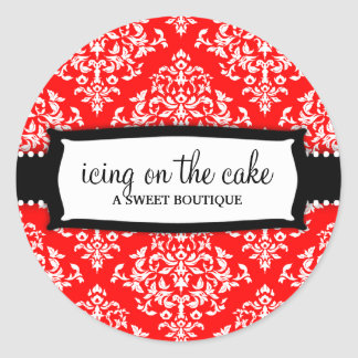 311 Icing on the Cake Cherry Red White Damask Classic Round Sticker