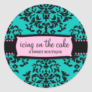311 Icing on the Cake Turquoise Pink Round Sticker