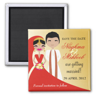 311 Indian Beauty Bride with Groom Square Magnet