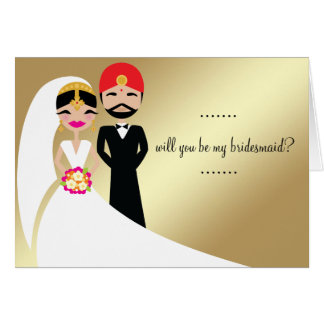 311 Indian Bride & Groom in White Gown Greeting Card