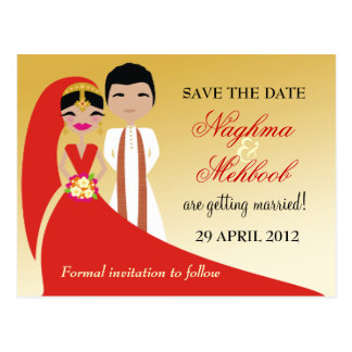 311 Indian Bride & Groom Save the Date Postcard