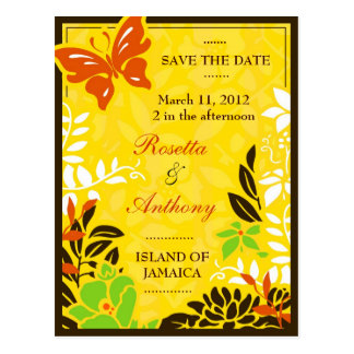 311 JAMAICAN GARDEN SAVE THE DATE POSTCARD