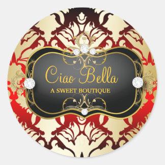 311 Jet Black Ciao Bella Cherry Sass Round Sticker