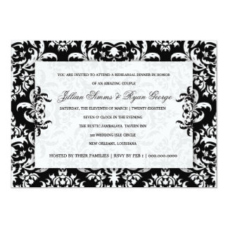 "311 Jillian Black Damask Invitation 5"" X 7"" Invitation Card"