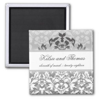 311-Kelsie Silver Glam w/ Crown Save the Date Square Magnet