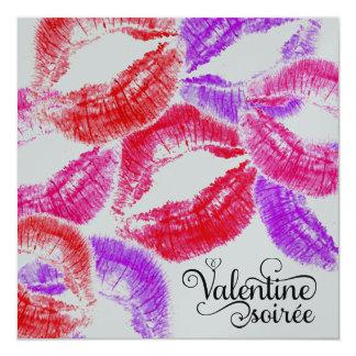 311 Kiss Smooch Kiss Valentine Soiree 13 Cm X 13 Cm Square Invitation Card