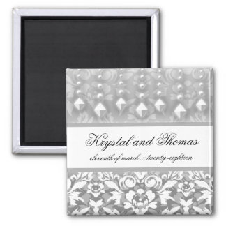 311-Krystal Glam Silver w/ Crystals Save Date Square Magnet