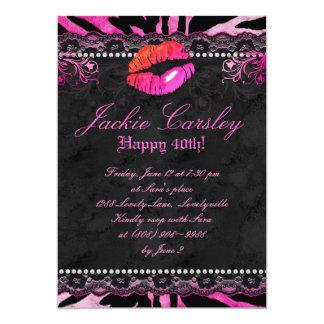 311 Lace Diamonds Birthday Party Zebra Pink Lips 13 Cm X 18 Cm Invitation Card