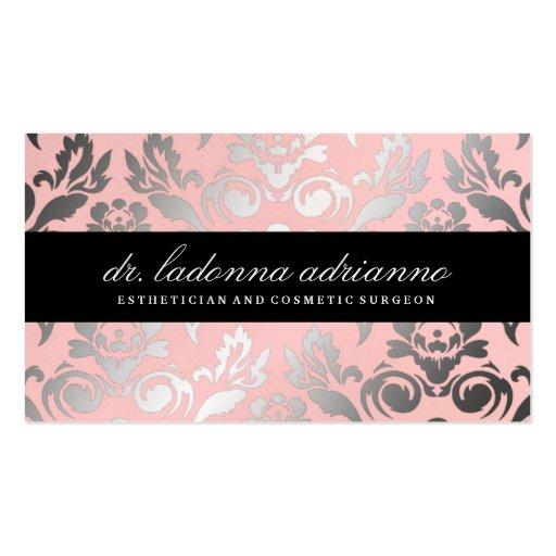 311 Ladonna Damask Powder Pink Business Card Templates