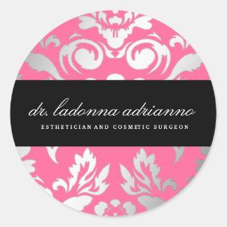 311-Ladonna Damask Rose Pink Round Sticker