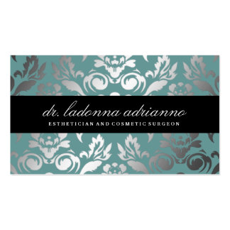 311 Ladonna Damask Teal Blue Double-Sided Standard Business Cards (Pack Of 100)